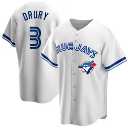 Brandon Drury Toronto Blue Jays Men's Replica Home Cooperstown Collection Jersey - White