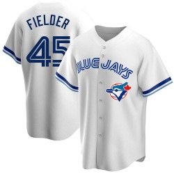 Cecil Fielder Toronto Blue Jays Men's Replica Home Cooperstown Collection Jersey - White