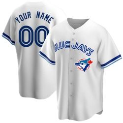 Custom Toronto Blue Jays Men's Replica Home Cooperstown Collection Jersey - White
