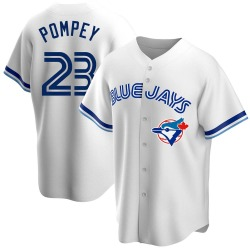 Dalton Pompey Toronto Blue Jays Men's Replica Home Cooperstown Collection Jersey - White