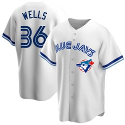 David Wells Toronto Blue Jays Men's Replica Home Cooperstown Collection Jersey - White