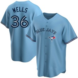 David Wells Toronto Blue Jays Youth Replica Powder Alternate Jersey - Blue