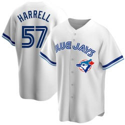 Lucas Harrell Toronto Blue Jays Men's Replica Home Cooperstown Collection Jersey - White