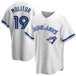 Paul Molitor Toronto Blue Jays Men's Replica Home Cooperstown Collection Jersey - White