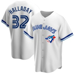 Roy Halladay Toronto Blue Jays Men's Replica Home Cooperstown Collection Jersey - White