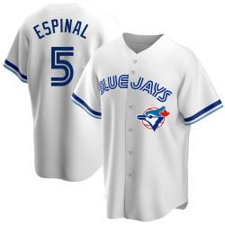 Santiago Espinal Toronto Blue Jays Men's Replica Home Cooperstown Collection Jersey - White