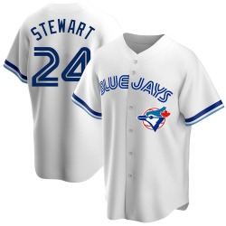 Shannon Stewart Toronto Blue Jays Men's Replica Home Cooperstown Collection Jersey - White
