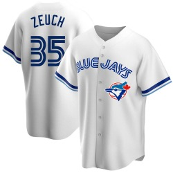 T.J. Zeuch Toronto Blue Jays Men's Replica Home Cooperstown Collection Jersey - White