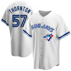 Trent Thornton Toronto Blue Jays Men's Replica Home Cooperstown Collection Jersey - White