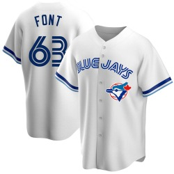 Wilmer Font Toronto Blue Jays Men's Replica Home Cooperstown Collection Jersey - White