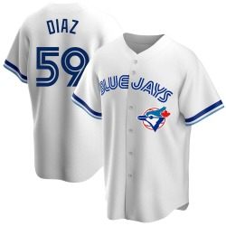 Yennsy Diaz Toronto Blue Jays Men's Replica Home Cooperstown Collection Jersey - White